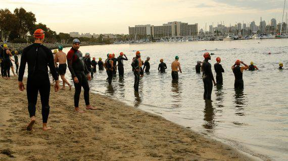 San Diego International Triathlon pre race swimmers