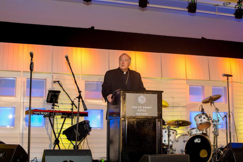 Bishop Robert McElroy gives powerful commencement during the gala program.