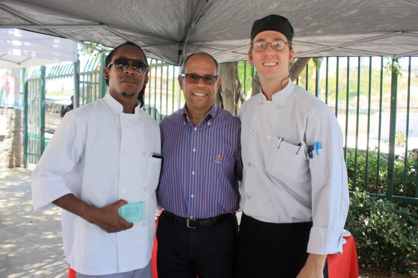 Culinary Arts Program students prepare food for volunteers.