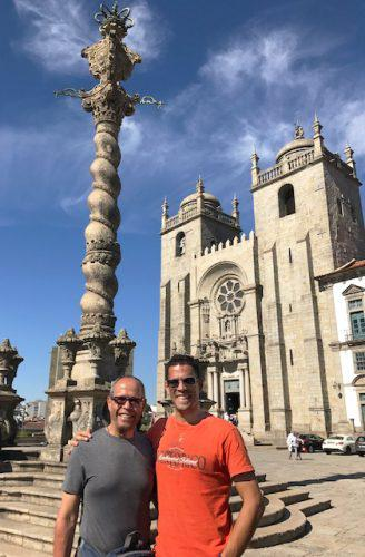Deacon Jim Vargas and son make their first stop on the Camino de Santiago: The Cathedral of Porto.