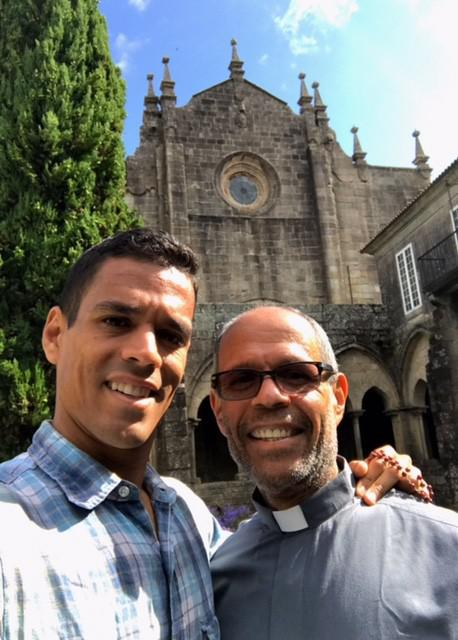 Deacon Jim Vargas and his son finish their pilgrimage at the Cathedral of Santiago de Compostela.
