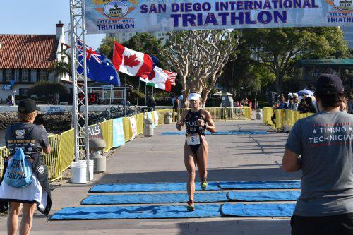 Woman Triathlete bib number 8 San Diego Triathlon 2017
