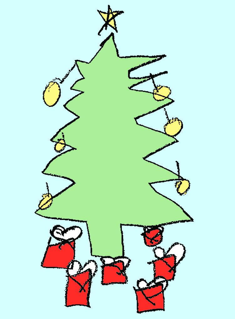 a child's drawing of a Christmas tree