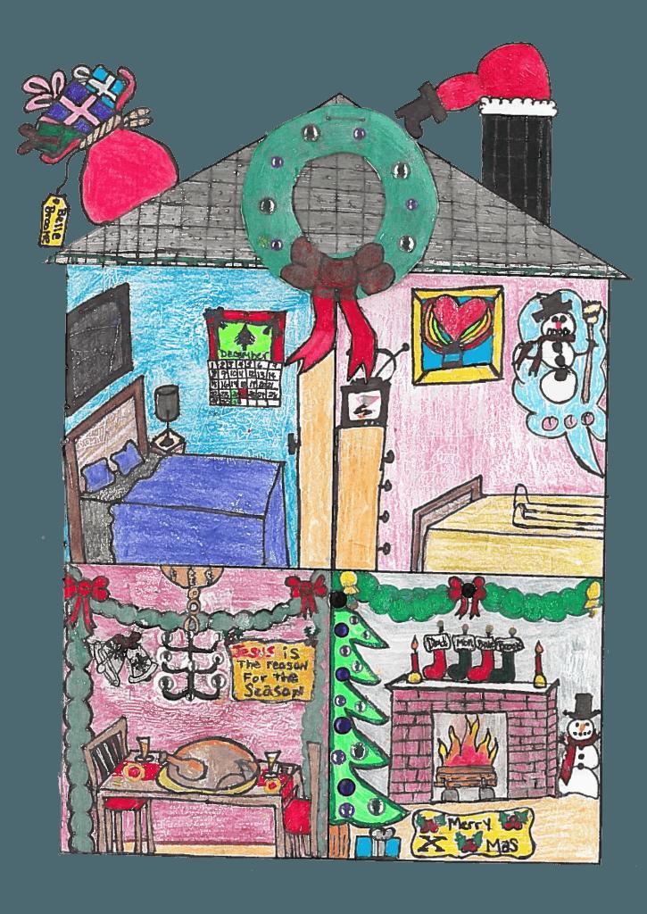 Kid Drawn Christmas House inside