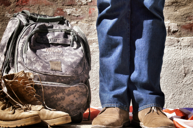 Work boots and a backpack of a veteran