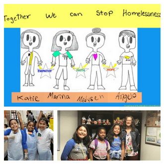 "Kids Volunteer San Diego | A child's drawing that reads ""Together we can stop homelessness""; Three girls with hair nets and aprons on, volunteering at Father Joe's Villages; Three girls meeting Communications Director Julie Dede at Father Joe's Villages."