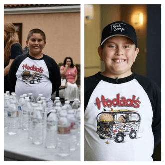 Kids Volunteer San Diego | Phillip stands next to the many water bottles he collected in Father Joe's Villages courtyard.