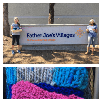 "Kids Volunteer San Diego | Two little girls, Jaya & Eva, stand next to a sign that reads ""Father Joe's Villages"" smiling and holding their headbands. Underneath, there's a picture of colorful knitted headbands."