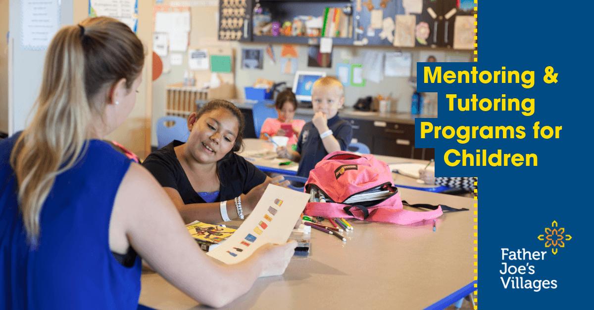 Tutoring Programs | A teacher helps a little girl with her homework.