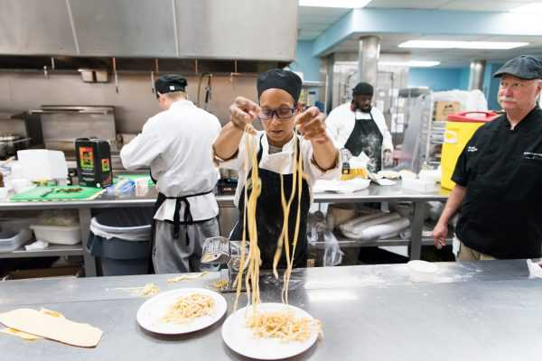 Kendra learns pasta making in Father Joe's Villages' Culinary Arts Program & Employment Services