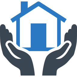 Graphic of hands holding a house | housing for homeless, affordable housing, transitional housing