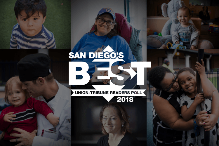 San Diego Best Charity | Collage of photos of clients with San Diego's Best Union-Tribune Readers Poll 2018 logo.
